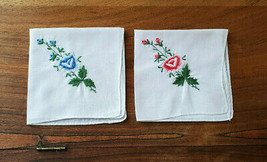 Vintage Set of 2 White w/ Blue & Pink Greenery Embroirded Floral Handker... - $14.80