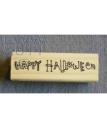 Wood-mounted Happy Halloween Rubber Stamp Scrap-booking  - $3.95