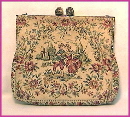 Tapestry Purse Made in France Two Lovers Girl on Swing Vintage
