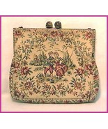 Tapestry Purse Made in France Two Lovers Girl on Swing Vintage - $39.00