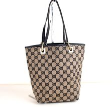 Auth Gucci GG Beige Canvas Black Leather Small Tote Handbag Italy 002.10... - $157.41