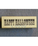 Wood-mounted Happy Halloween Scrap-booking Rubber Stamp  - $3.95