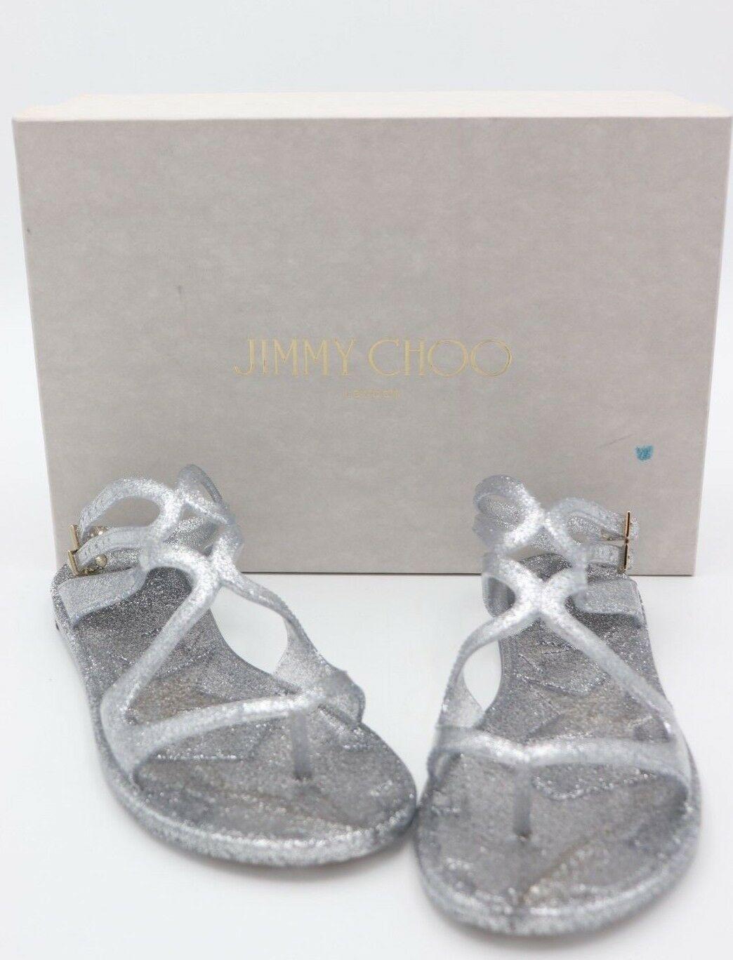 NIB Jimmy Choo Lance Silver Metallic Glitter Rubber Jelly Sandals 7 37 New