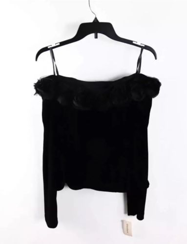 Dressbarn Black Long Sleeve Velvet Rosette Trim Off Shoulder Blouse L
