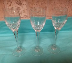 Set 3 Vintage Etched Crystal Wine Sherry Cordial Glasses Wheat Flower Bu... - $18.42