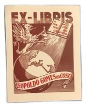 Ex Libris Exlibris Bookplate Leopoldo Gomes Da Costa Griffin - $29.69
