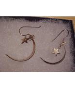 New Moon & Star 925 Sterling Silver Earrings NIB  - $19.95