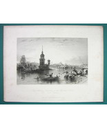 CONSTANTINOPLE Bosphorus Maiden Tower - 1840 Antique Print by Allom - $19.09