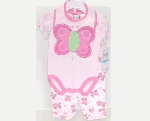 Primary image for Baby Togs Butterfly Onsie Pants Bib Set 3 To 6 Months