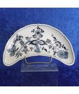 Blue Danube Half Moon Shaped Bone Plate Blue Onion Pattern #99183 Square... - $24.99