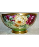 Gorgeous Lg Antique Hand Painted Porcelain Bowl, Roses & Gold - $495.00