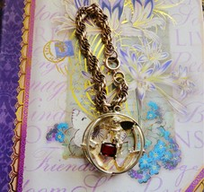 Vintage Angel Charm Bracelet, Red Stone, Gold-tone Metal, Valentine's Day - $24.75