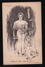 """Shall It Be """"Yes Or No"""" Vintage Artists Signed Postcard Tornrose - $3.58"""