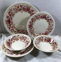 VTG Lot of 5 pc Johnson Bros England  Windsor Ware Margaret Rose Pink Fl... - $64.35