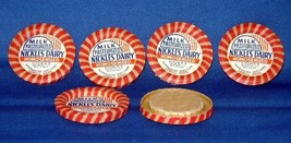 Nickles Dairy~Lowell Mass~Milk Bottle Covers/Caps X 6 - $7.00