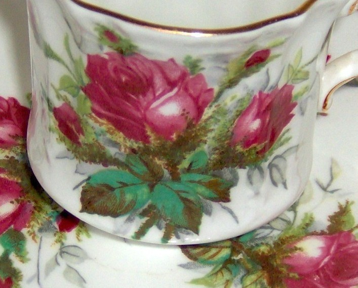 China Teacup Set by Hammersley in Grandmother's Rose Pattern
