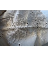 """Victorian Era Embroidered Cutwork Unfinished Runner Tablecloth 70"""" x 34""""... - $150.00"""