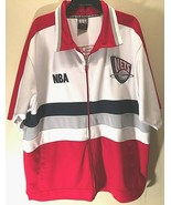 New Jersey Nets NBA '96 Dunk Vintage Red White Blue Full Zip Shooting Wa... - $69.29