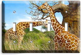 African Giraffe Love Animals 4 Gang Light Switch Wall Plate Cover Room Art Decor - $17.99