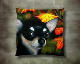 Throw Pillow Case Cushion Case Dog 101 Chihuahua Fall Autumn art painting LDumas - $23.99+