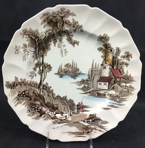"Johnson Brothers THE OLD MILL Service Plate 11.5"" Hand Engraved ,Made In England - $15.00"