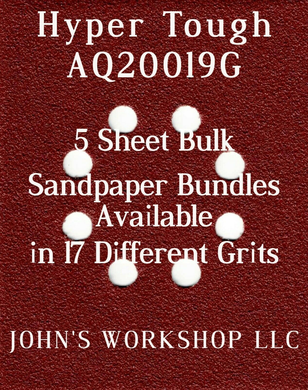 Primary image for Hyper Tough AQ20019G - 1/4 Sheet - 17 Grits - No-Slip - 5 Sandpaper Bulk Bundles