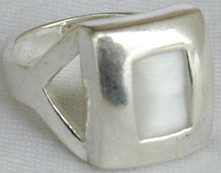 White cat eye silver ring