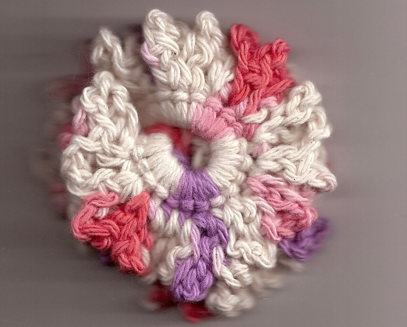 Pink Purple Cream Crochet Ponytail Holder Handmade Stretch