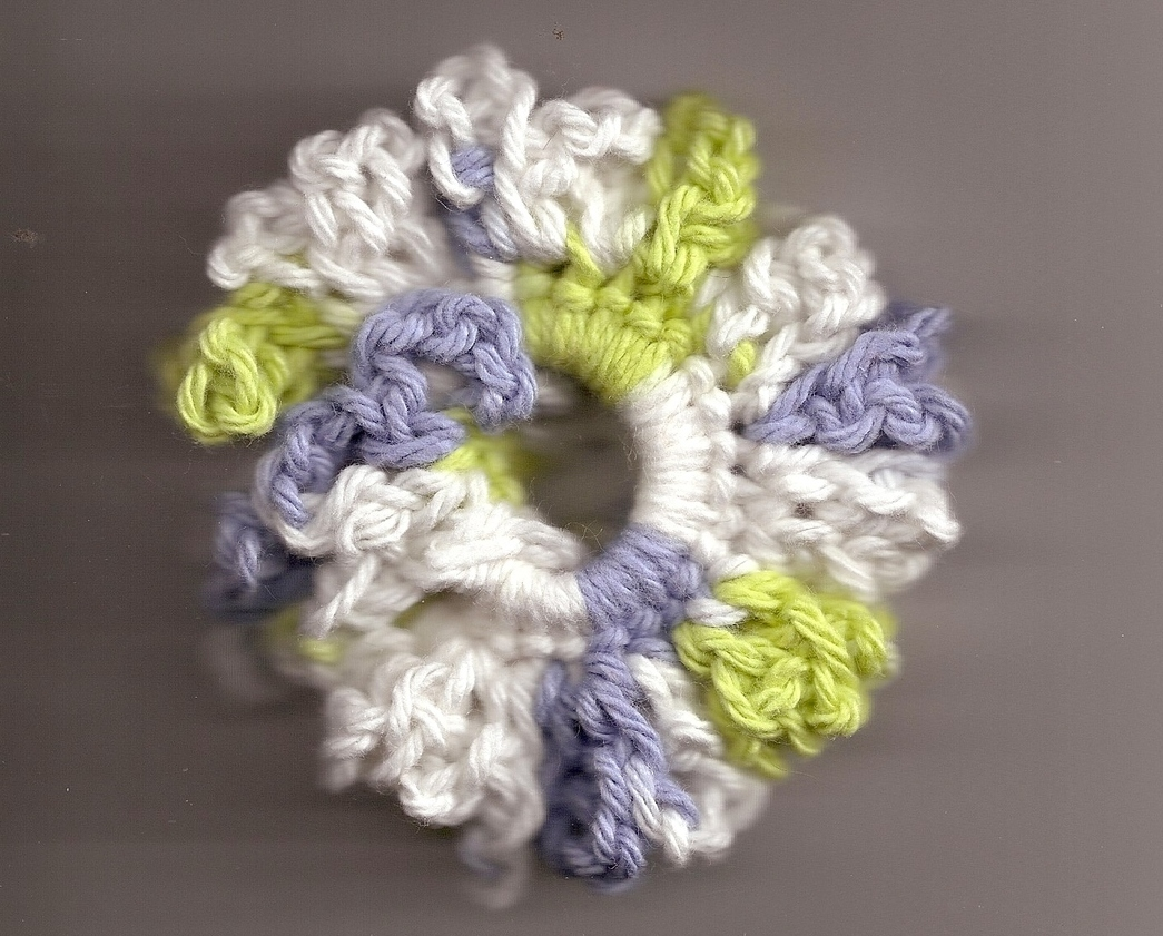 Blue Green Cream Crochet Ponytail Holder Handcrafted Stretch