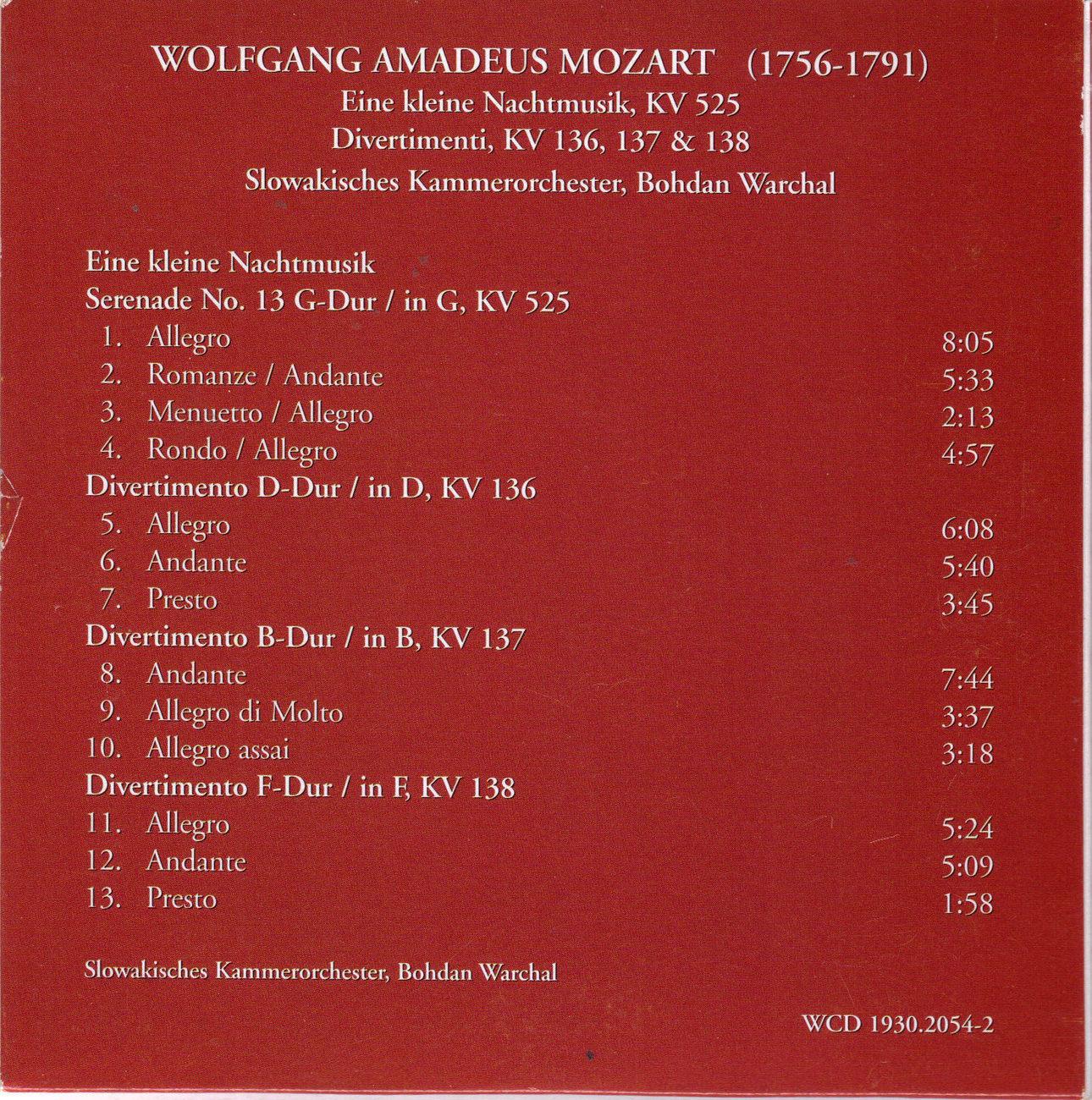 WOLFGANG AMADEUS MOZART (1756-1791) CD, New