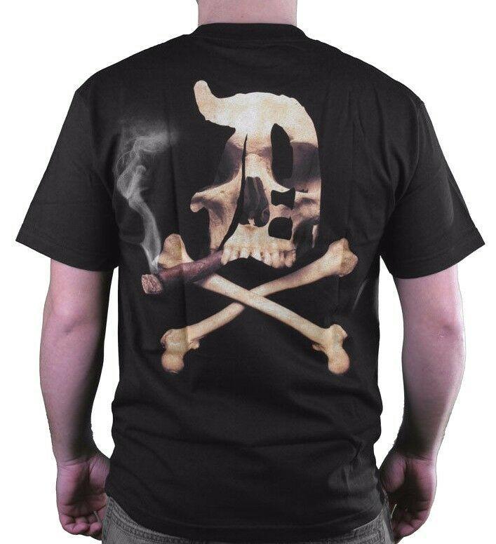 Dissizit! Mens Blunted English D x Bones Blunt Smoking Black T-Shirt Slick LA