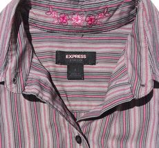 lot 2 dress shirts button 3/4 sleeve fitted stripe Old Navy size XS Express sz 2 image 3