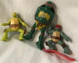 Mixed Lot Of 3 Teenage Mutant Ninja Turtle Figures Turtles Power Pizza M... - $20.76