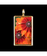Orange and Red Blooms Photograph Pendant by KVW - $19.99