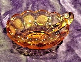 Vintage Fostoria Coin Glass Nappy dish with handle amber AA19-CD0013 image 5