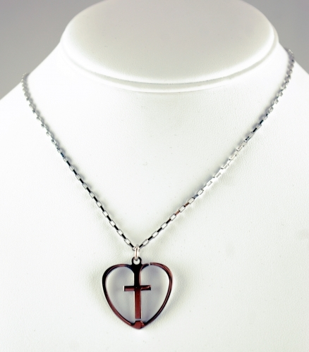 Latin Cross in Open Heart on Venetian Box Link Chain - 24 inch