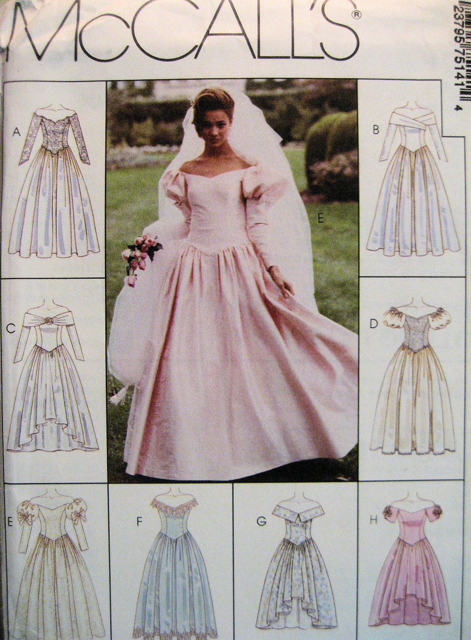 Mccalls 7514 new womens dress 8 to 12 wedding dress patern for Wedding dress patterns mccalls