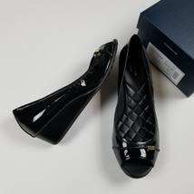 New COLE HAAN sz 9.5 black patent leather open toe wedge pumps $180 (JH121) - $75.00