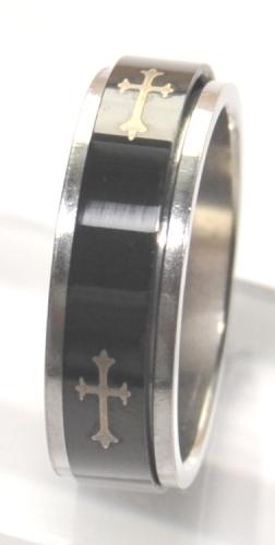 Black Stainless Steel Spinner Ring with Golden Cross - sizes 8,11,12