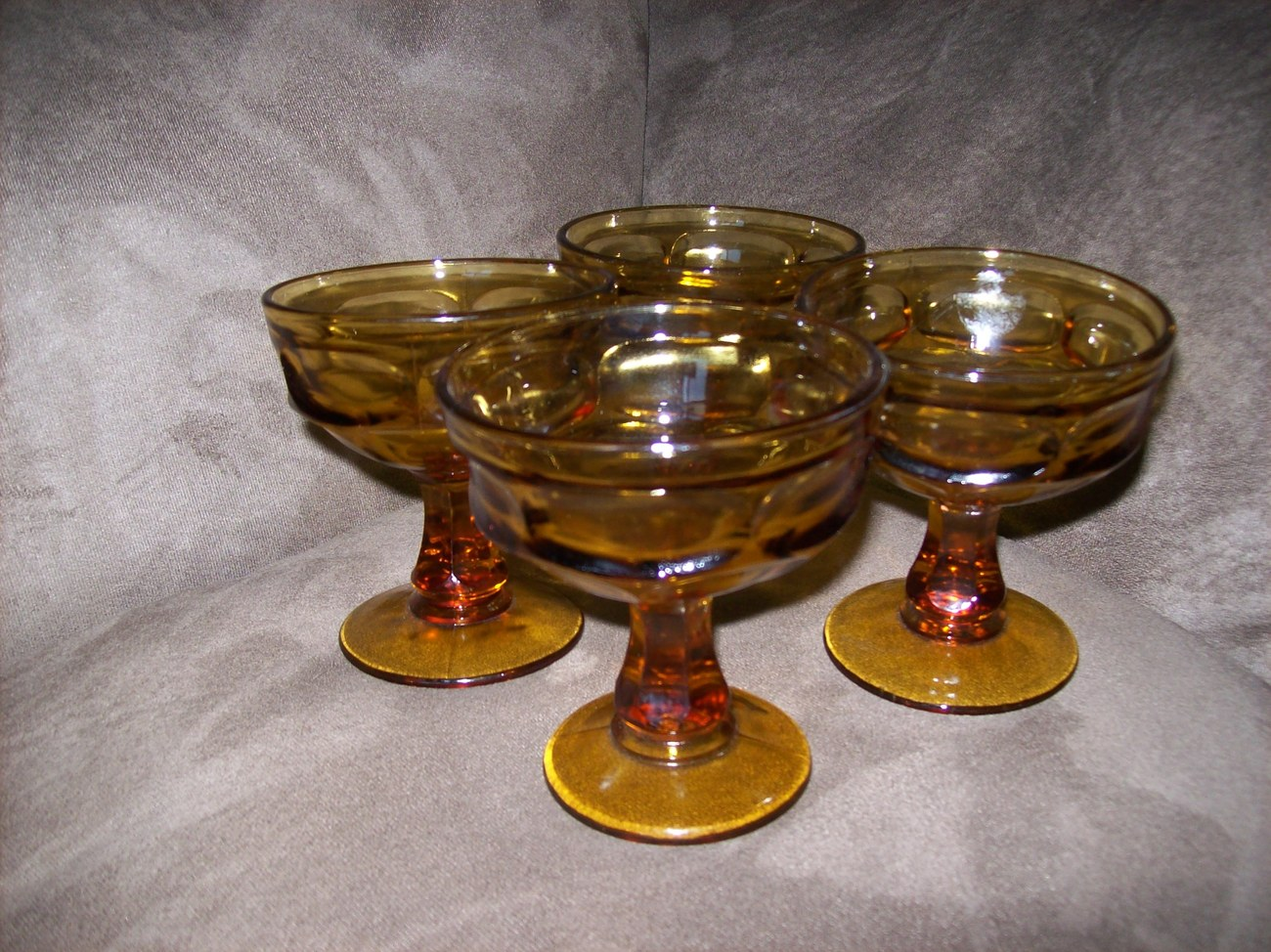 4 Libbey Vintage Amber Cocktail/ Dessert  Glasses