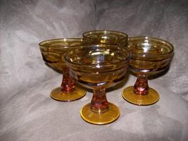 4 Libbey Vintage Amber Cocktail/ Dessert  Glasses - $20.00