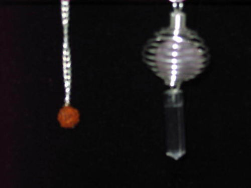 Silver Tone Caged Tumbled Stone Pendulum