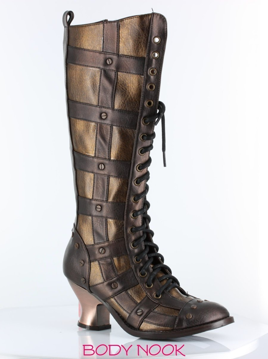 Hades DOME Punk Goth Vintage Knee High Boots BLACK or BROWN Sizes 6-11