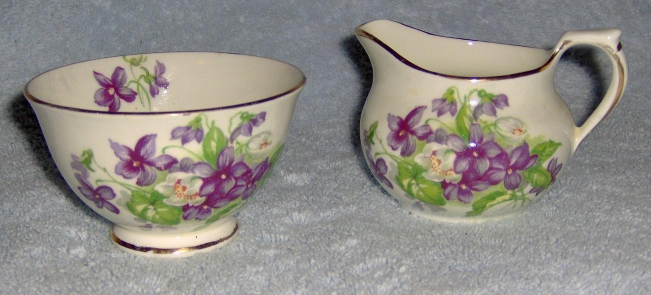 Devon violets sutherland english bone china sugar and creamer