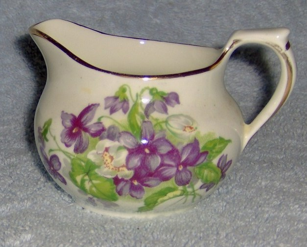 Sutherland English Bone China Sugar Bowl and Creamer Set Devon Violets