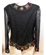 Vintage Lawrence Kazar Ladies Women Blouse Top Beads Sequins Size M Made... - $85.49
