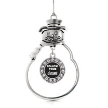 Inspired Silver Follow Your Dreams Circle Snowman Holiday Christmas Tree Ornamen - $14.69