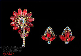 Vintage Red and Red Aurora Borealis Rhinestone Pin and Earrings (#J1321) - $50.00