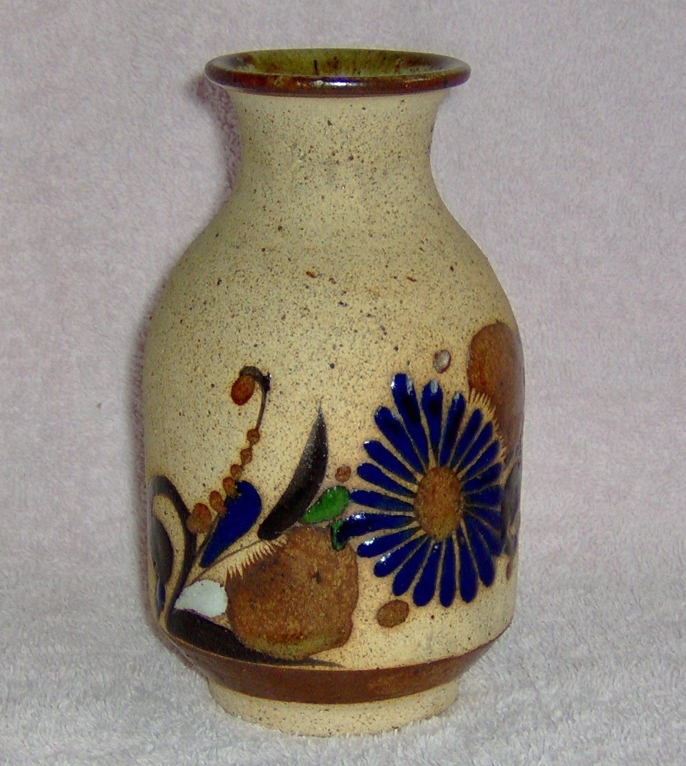 Hand Crafted Flowered Clay Vase One Of a Kind