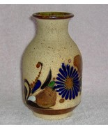 Hand Crafted Flowered Clay Vase One Of a Kind  - $8.99